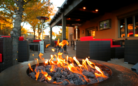 derailed restaurant outdoor fire pit and patio