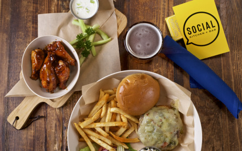 Southwester Burger, Hot Honey BBQ Wings and Beer
