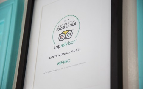Framed TripAdvisor certificate of excellence