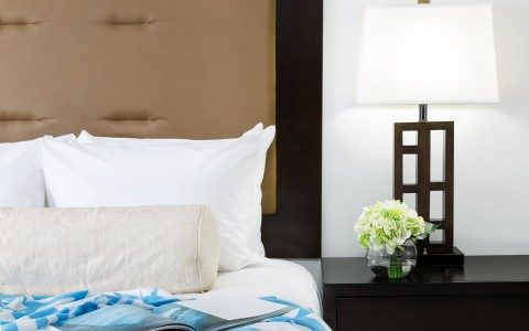 Close up of pillows on bed next to black nightstand with plant