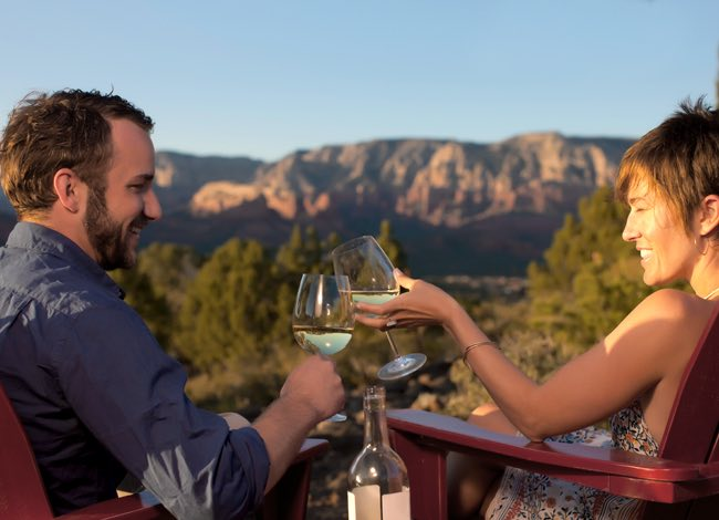 a couple drinking wine in sedona