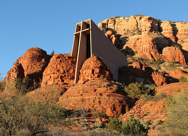 a chapel in the rock mountains