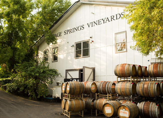 page springs winery exteriod with wine cask