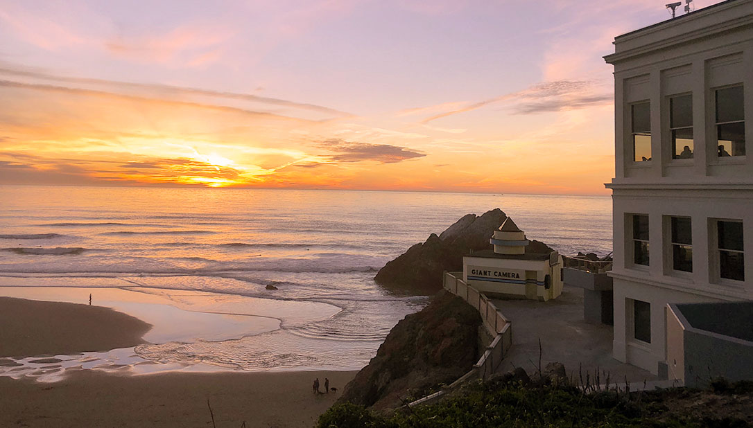 cliff house at sunset