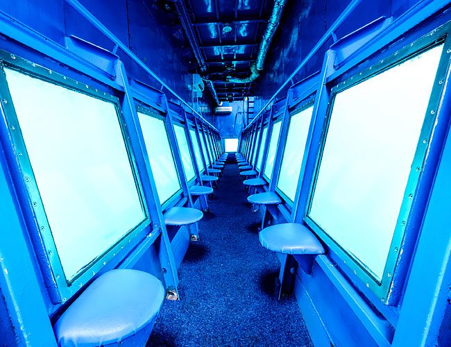 Underwater submarine viewing room