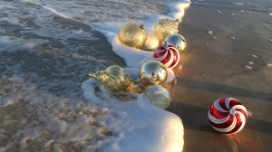 christmas ornaments on the shore