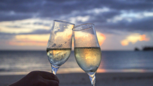 sea sunset beach champagne couple