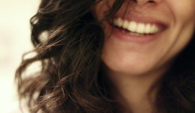 woman smiling up close