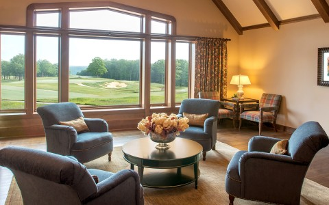 Sitting area with golf course view