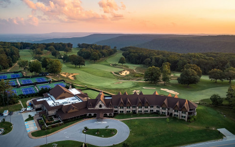 Aerial view of Sewanee Inn at sunset-42399323