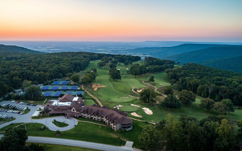 Aerial view of Sewanee Inn at sunset-42399328