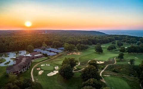 Aerial view of Sewanee Inn at sunset-42399317