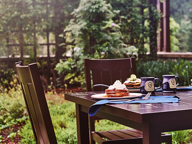 outdoor dining with sewanee inn mugs and french toast and trees in background
