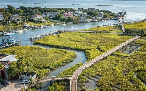 birds eye view of shem creek