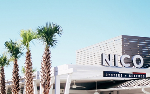Nico restaurant sign with palm trees in the front