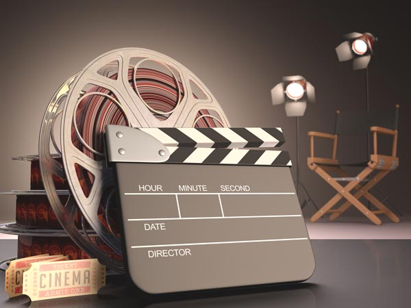 film reel and clap board