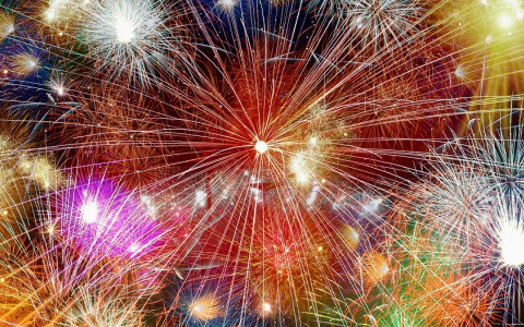 Large Multicolored Fireworks Display