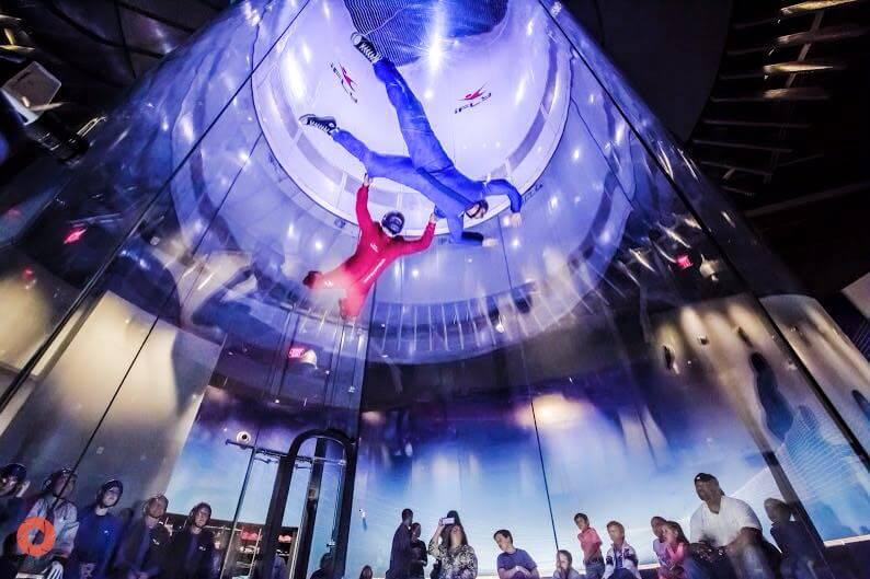 indoor skydiving tunnel demonstration