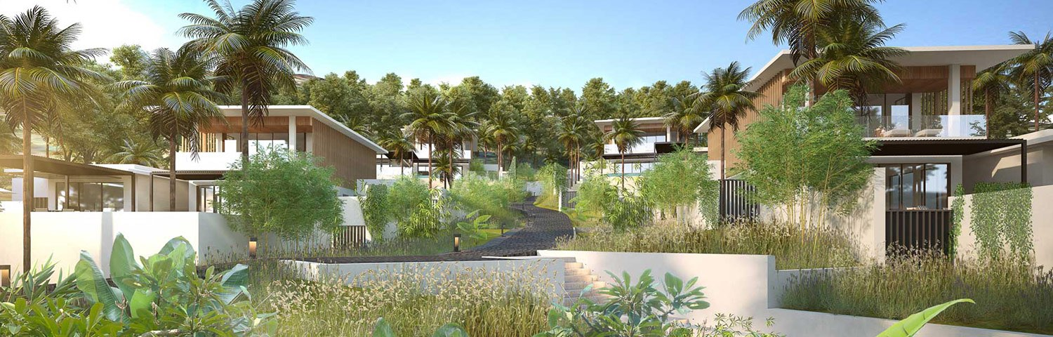 A view of the Hillside Villas tucked away by palm trees and other lush greenery