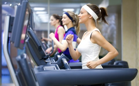 girls running on treadmills