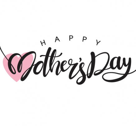 Happy Mother's Day stock image with cursive font and a pink heart