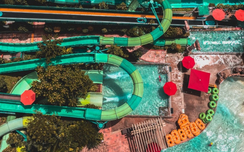 aerial view of water slides and pool