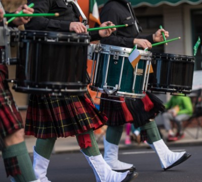 saint patrick day irish marching band drummers