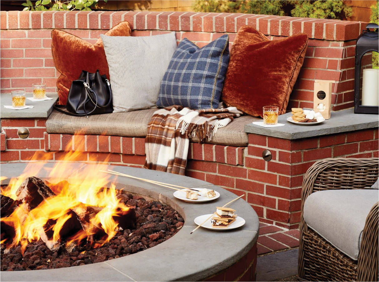 fire pit with smores