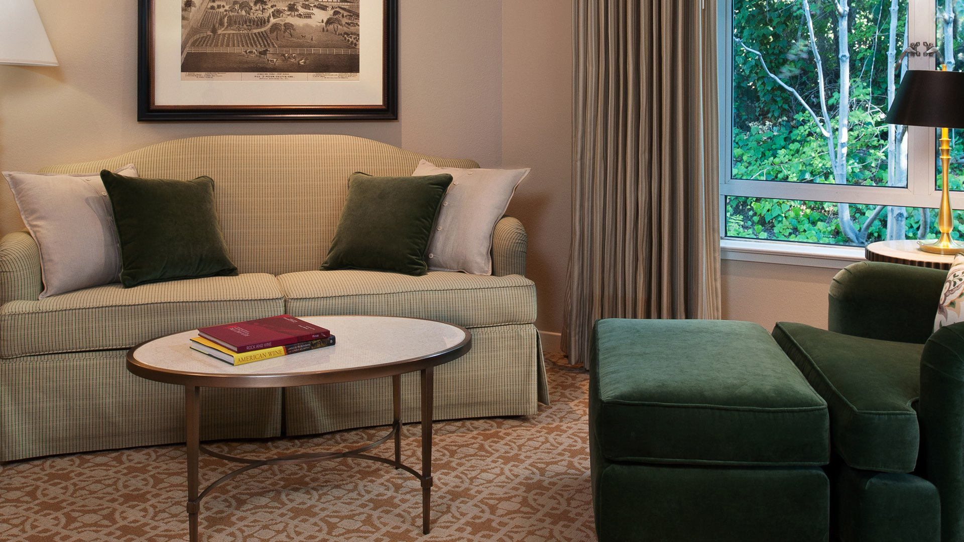 couch with center table and green chair