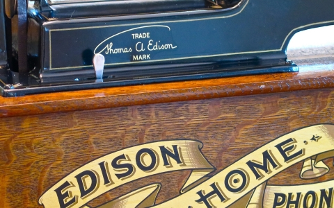 Close up on base of Edison phonograph