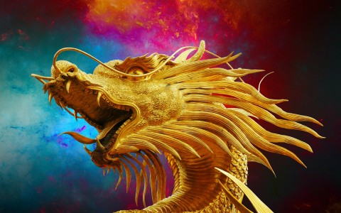 Head of golden Thai dragon with muticolored background