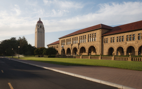 Stanford University main quad and tower