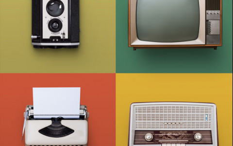 vintage electronics on a colorful background