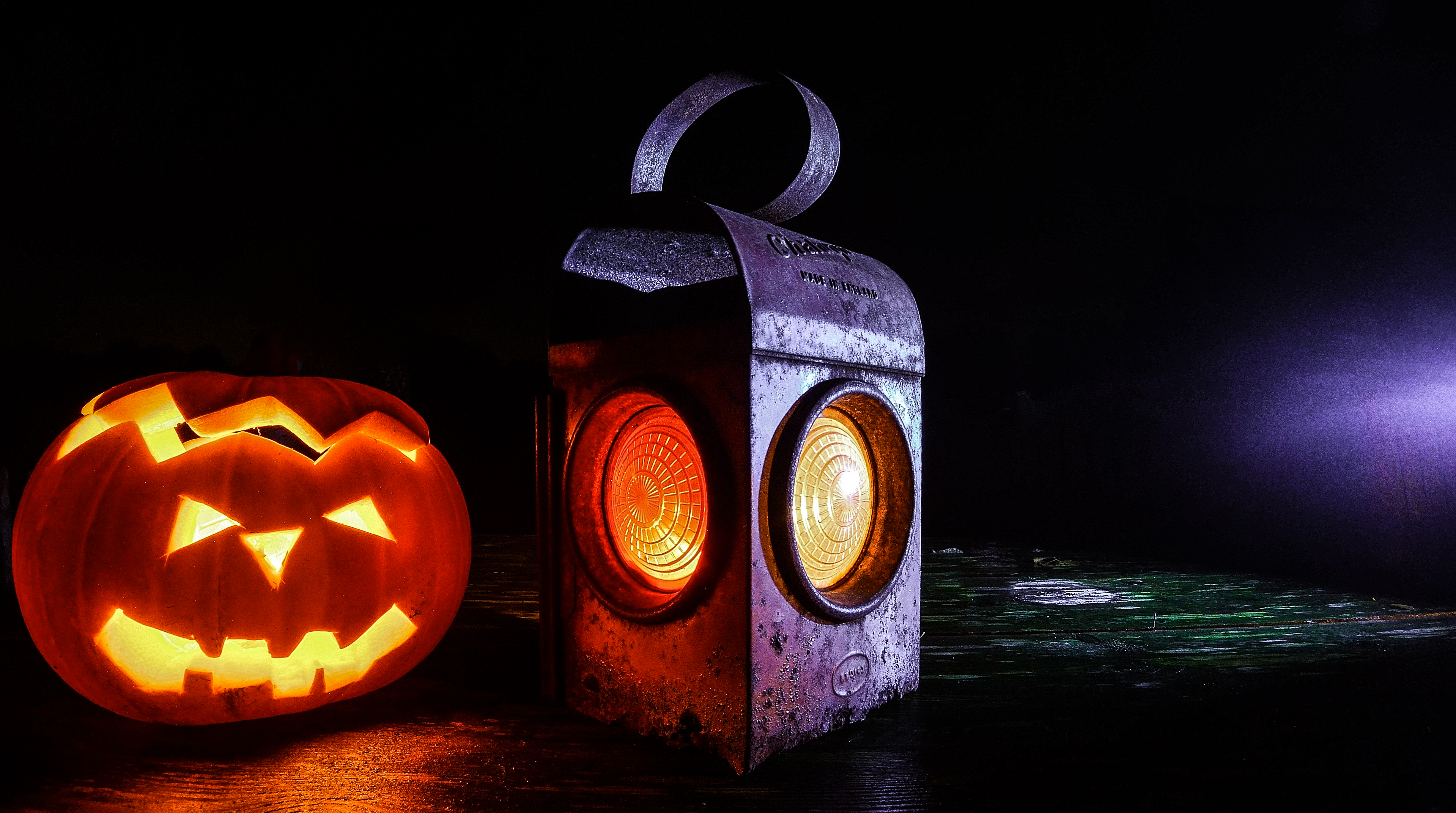 Glowing lantern and jack o lantern
