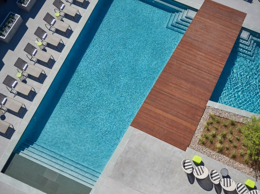 aerial view of the pool area