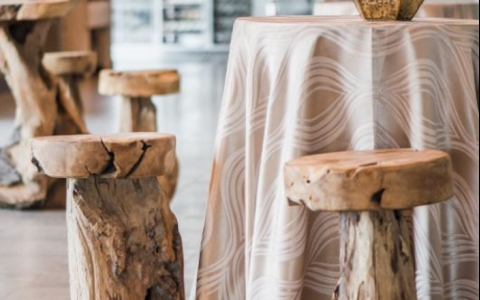 close up of wooden stools