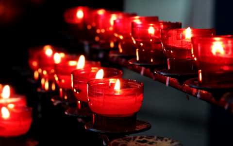 Votive candles burning