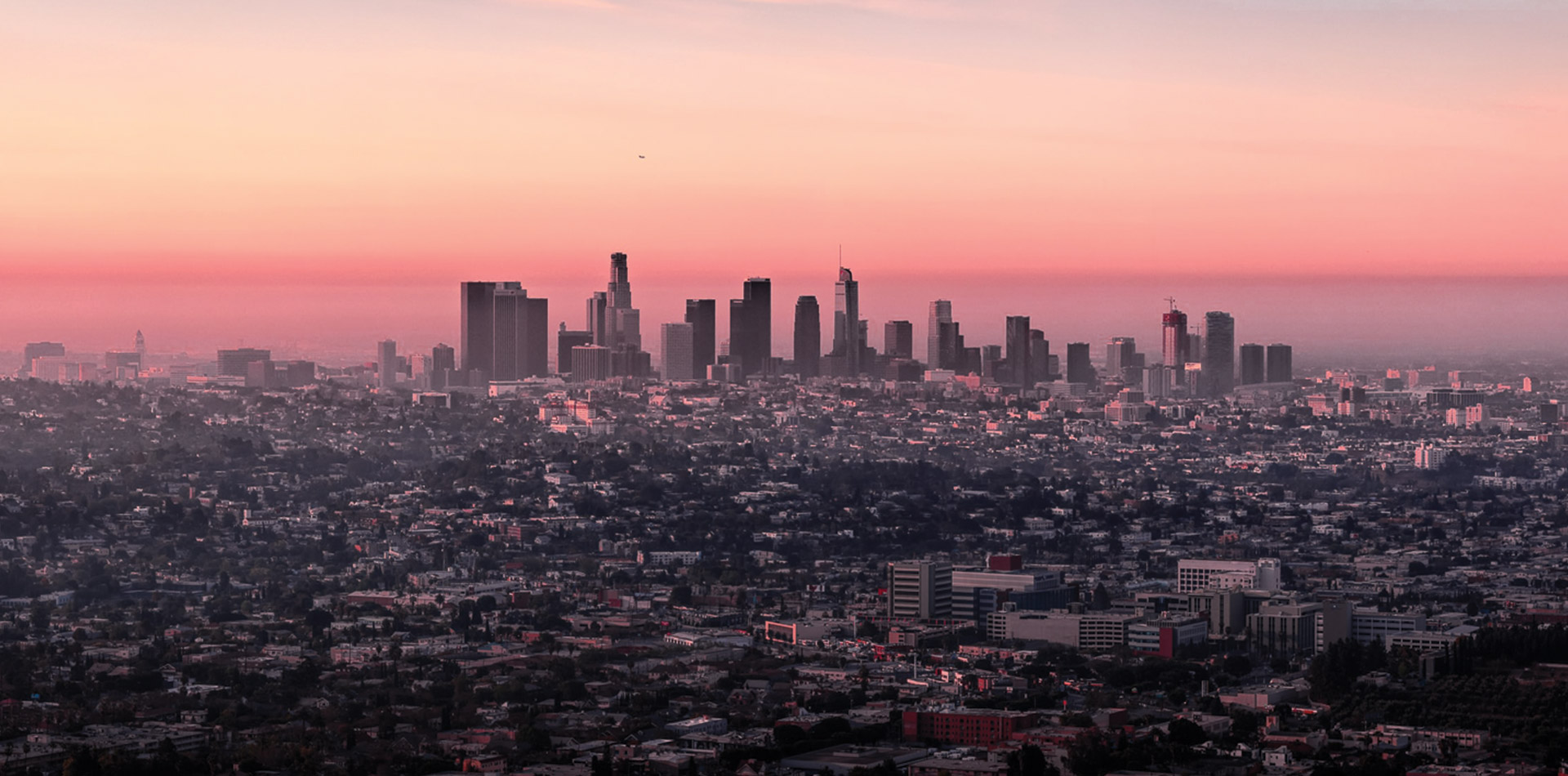 aerial view of the los angeles skyline at twiight