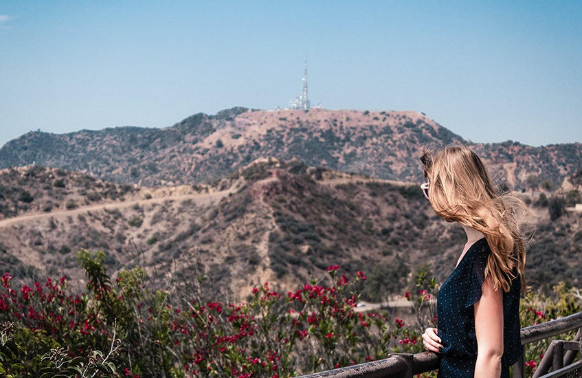 woman overlooking the hollywood hills