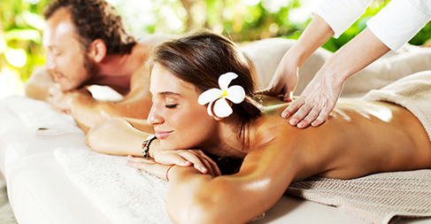 women getting massage
