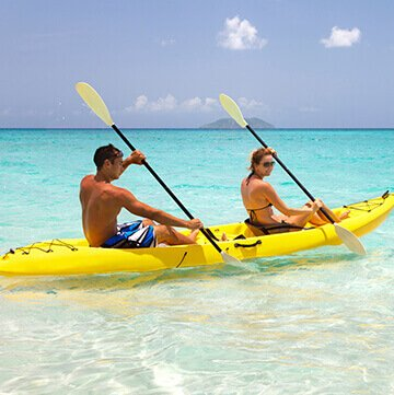 Man and women in a yellow kayak