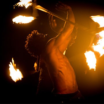 Male fire dancer