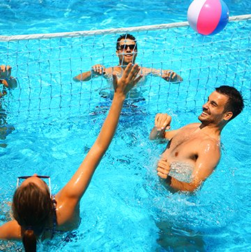 people playing water volleyball