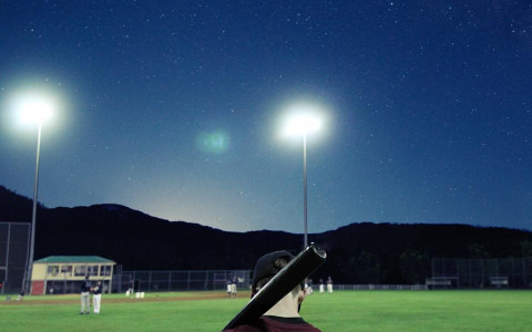 Baseball player at night