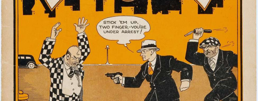 Detective Dan Comic with Criminals and Police on a yellow cover