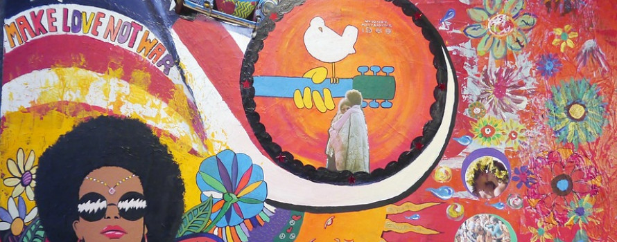 Painting of Woodstock with VW bug Jimmy Hendrix and flowers