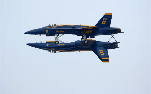Two Blue Angels One on top of the other