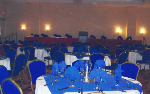 ballroom with decorated tables