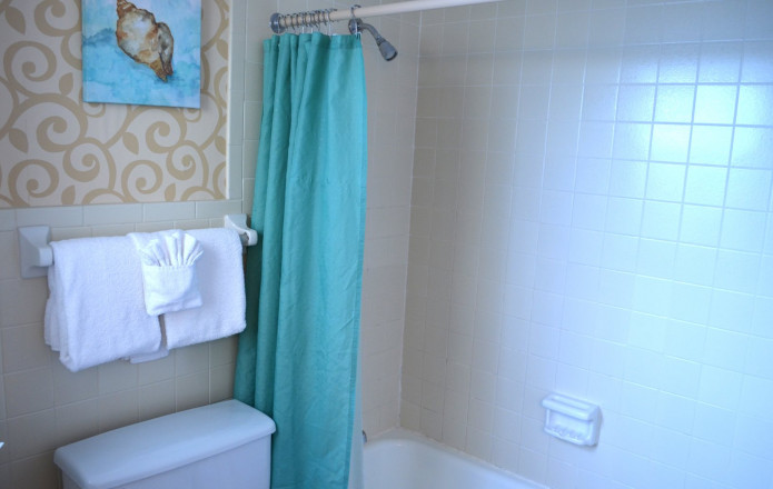 Non-View Guest Room - Plan 3-Guest bathroom tub with green shower curtain
