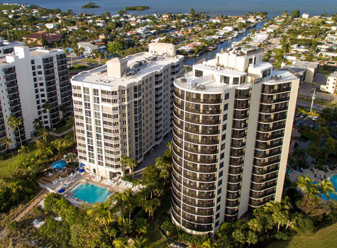Aerial view of GullWing and Pointe Estero hotel buildings